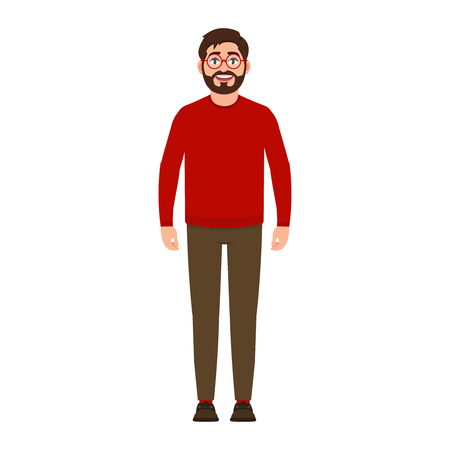 Bearded guy smiles, happy man in red sweater, good mood, character in flat style vector illustration