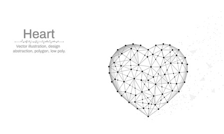 Heart symbol illustration made by points and lines, polygonal, Low poly blue background, abstract design illustration