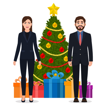 Man and woman in a suit standing near the Christmas tree, cartoon characters vector illustration isolated on white background