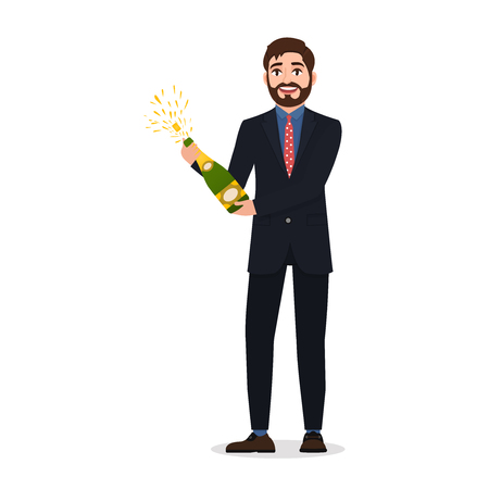 Happy bearded man opens champagne, character in flat style celebrating an important event