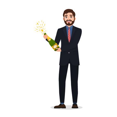 Un homme barbu heureux ouvre du champagne, un personnage dans un style plat célébrant un événement important