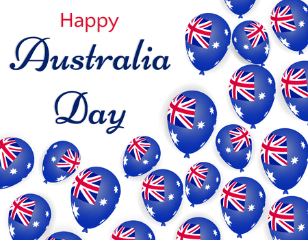 Happy Australia day, helium balloons with australia flag. Festive vector illustration on white background. greeting card or banner ad