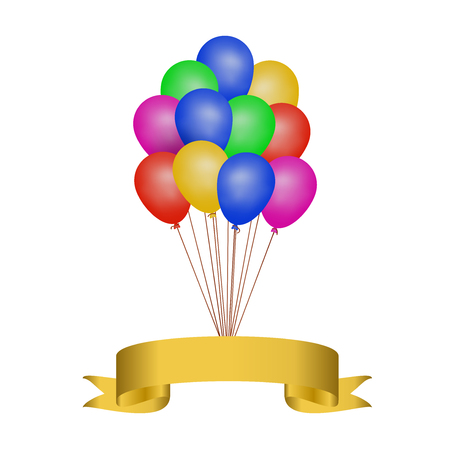 Multicolored helium balloons with a golden ribbon, festive vector illustration on white background Vetores