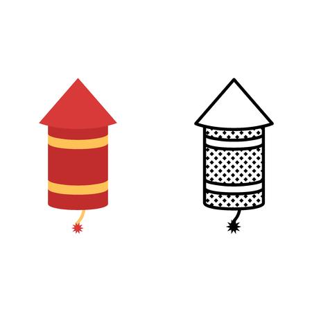 Rocket icon set, pyrotechnics symbol, vector illustration Illustration