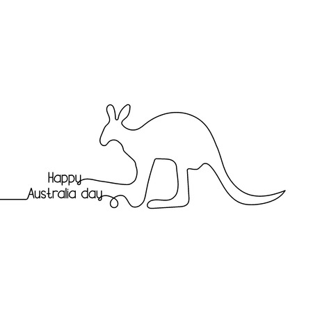 Happy australia day one line style, Kangaroo freehand drawing vector illustration