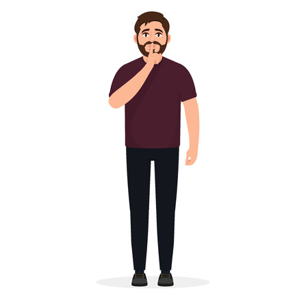 Bearded man shows a gesture of quiet, do not make noise, a character in a flat style Vektoros illusztráció