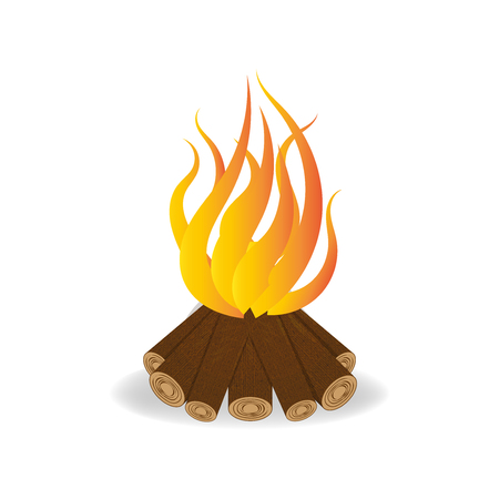 Bonfire in cartoon style, fire vector illustration