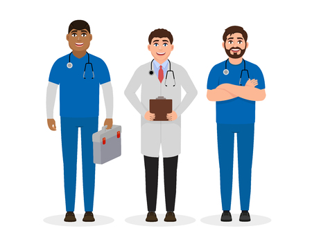 Doctors dressed in medical uniform, three happy characters in flat style, professional employment vector illustration Stock Illustratie