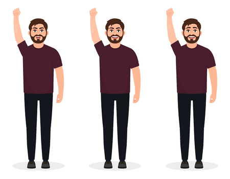 Bearded man shows gesture of protest, Human with arm up, character in a flat style
