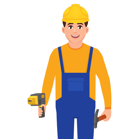 Happy builder holding drill and hammer, man in construction uniform, character in flat style