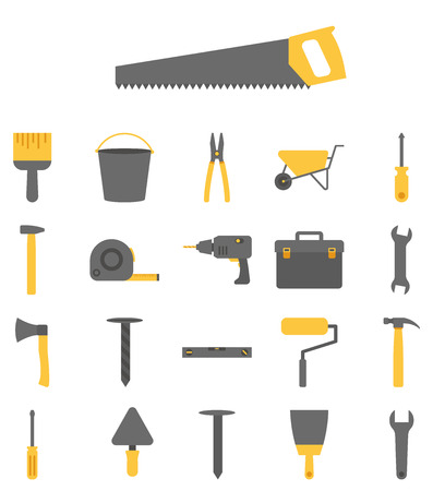 Construction tools vector icon set on white background
