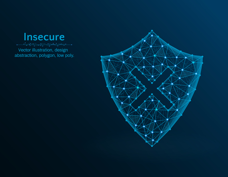 Insecure low poly vector illustration, shield and cross icon on blue background, abstract design illustration 向量圖像