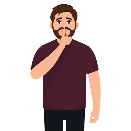 Bearded man shows a gesture of quiet, do not make noise, a character in a flat style