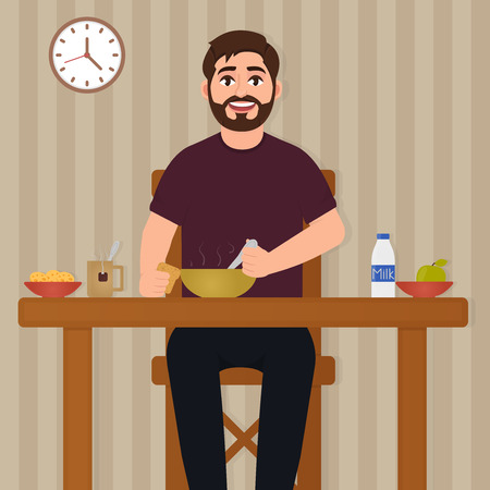 Man eating food, happy bearded man sitting at the table and having lunch, eating vector illustration, character in cartoon style Stock Illustratie