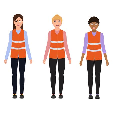 Mujeres con chalecos reflectantes, profesiones femeninas, personajes en un estilo de dibujos animados. Ilustración de vector