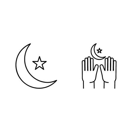 Crescent pray, Ramadan Kareem linear icons on white background