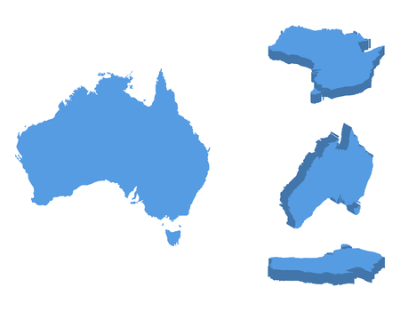 Australia isometric map vector illustration, country isolated on a white background.