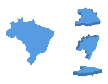 Ilustración de vector de mapa isométrico de Brasil, país aislado sobre fondo blanco.