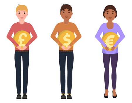 People hold coins, dollar, euro, pounds sterling, happy characters in a cute style Vector Illustratie