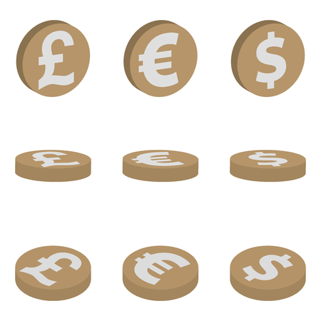 Isometric icons of coins dollar, euro, pound sterling, currency symbols, finance vector illustration isolated on white background