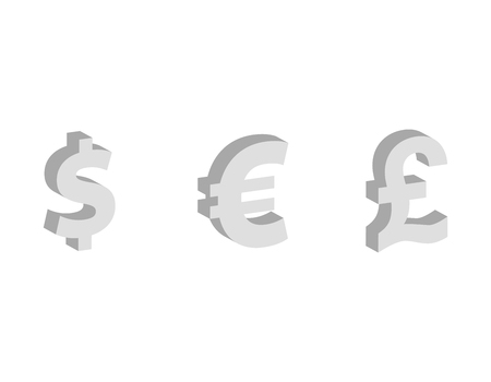Dollar, euro, pound sterling Flat icon, currency symbols, finance vector illustration isolated on white background Vector Illustration
