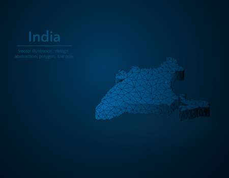 India map low poly vector illustration, South Asian country polygonal icon, isometric icon, ducation concept illustration, dark blue background