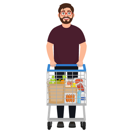A bearded man stands with a shopping trolley, the trolley is filled with greyish products, makes purchases in a supermarket, a character in a cartoon style Illustration