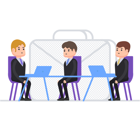 Interview for work, person gets a job as a manager, people in business suits, characters in flat style