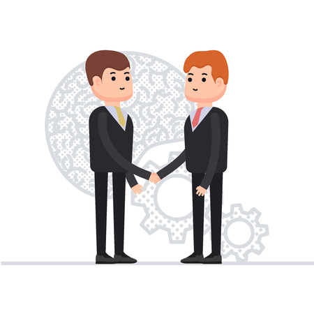 Business agreement of two businessmen, interaction of the brain and mechanism, teamwork, finds a solution through joint work, characters in a flat style