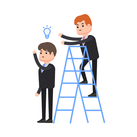 Theft of an idea, one businessman steals an idea from a second businessman, a businessman stands on a stepladder, characters in a flat style