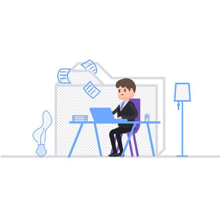 Der Buchhalter sortiert die Dokumente in einen Ordner, ein Geschäftsmann sitzt im Büro und arbeitet hinter einem Laptop, der Arbeitstag eines Geschäftsmannes, Aufbewahrung von Unterlagen, eine Figur im Cartoon-Stil.