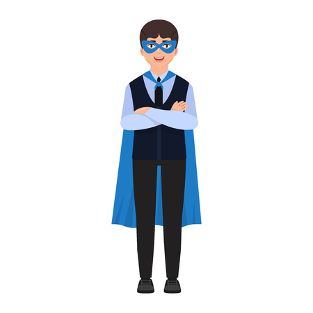 The boy is dressed in a superhero costume, a cape and a mask of a superhero, a cute character in a cartoon style.