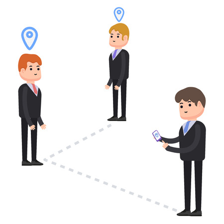 Businessman looking for business partners, GPS navigation, mobile phone people searching, characters in cartoon style Illustration