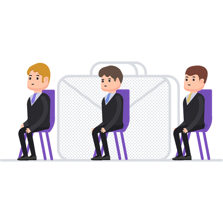 Businessmen sit in a chair and wait for their turn, job interview, small characters in cartoon style Vettoriali
