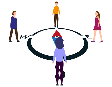 People come to the compass from different sides, people from all over the world are looking for the right direction. Vector illustration.