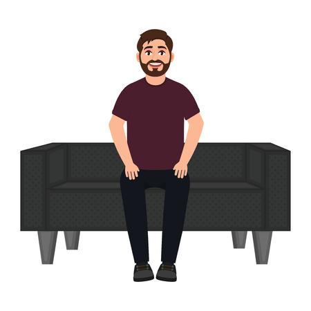 Un uomo si siede su un divano, un uomo barbuto e sorridente aspetta su un morbido divano illustrazione vettoriale