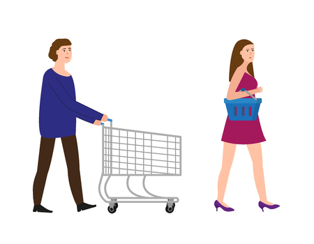 A guy with a shopping trolley, a girl with a shopping basket, vector illustration
