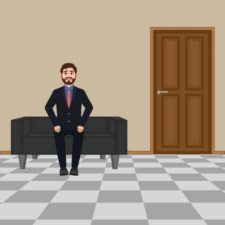 Businessman sitting on the sofa, bearded smiling man waiting near the door vector illustration Illustration