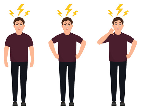Angry man raised fist and shout or screaming expression. Man expresses negative emotions and feelings, shouts loudly and desperately. Human emotion and body language concept illustration in cartoon.