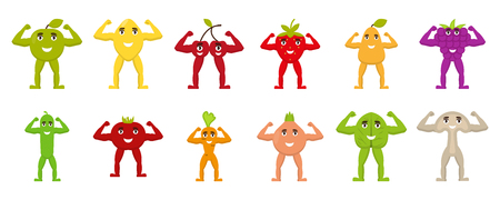 Fruits and vegetables with arms and legs, flat characters, show hand biceps, healthy food, vector illustration Ilustrace