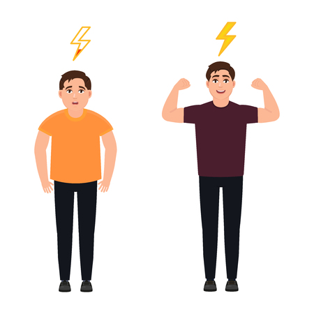 A man full of energy and strength, shows hand biceps, a sad young man with low energy, lightning, a character in a cartoon style Vector Illustration