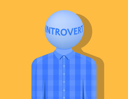 A man with a ball instead of a head, the inscription is introvert, the shadow falls on a light orange background