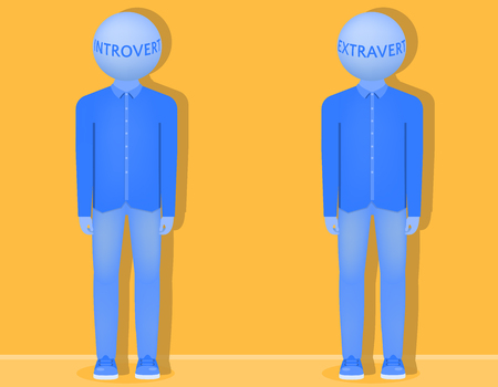 Two people with balls instead of heads on which an introvert and extrovert are written, two types of people vector illustration
