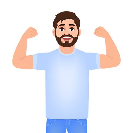 Bearded man shows biceps on his hands, young man plays sports, character in cartoon style