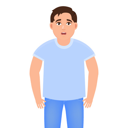 The guy has poor health, the man has something to hurt, a bad mood, the man is dressed in jeans and a T-shirt, a character in a cartoon style