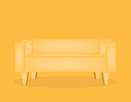 Yellow sofa vector illustration, furniture or interior element for the house in a flat style