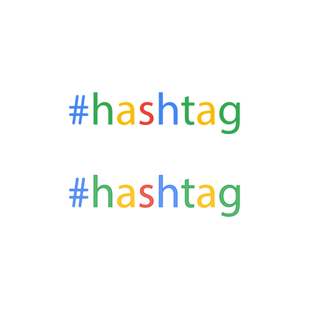 Hashtag word in flat style, social media, keyword, lattice button