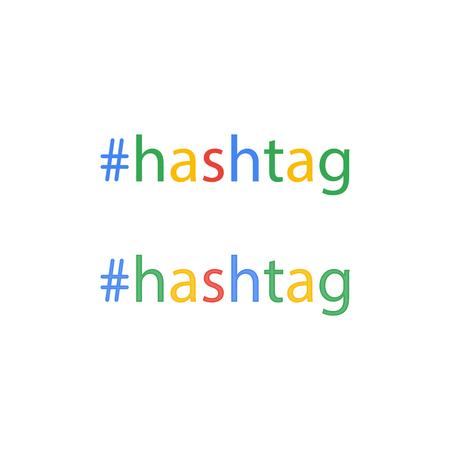 Hashtag word in flat style, social media, keyword, lattice button