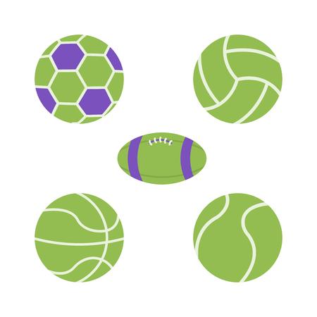 Piłki wektorowe ikony płaskie, koszykówka, piłka nożna, siatkówka piłka ilustracji wektorowych