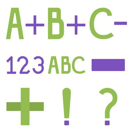 ABC, 123, plus, moins les icônes plates vectorielles, les éléments de l'école illustration vectorielle